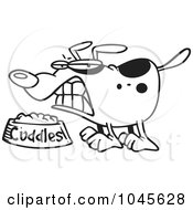 Royalty Free RF Clip Art Illustration Of A Cartoon Black And White Outline Design Of A Dog Growing Over His Food Bowl by toonaday
