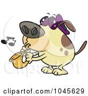 Royalty Free RF Clip Art Illustration Of A Cartoon Dog Playing A Saxophone