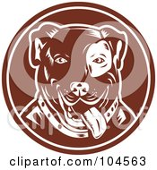 Royalty Free RF Clipart Illustration Of A Brown Pit Bull Logo by patrimonio