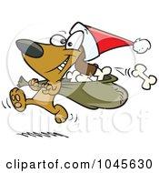 Royalty Free RF Clip Art Illustration Of A Cartoon Santa Paws Dog Carrying A Bag Of Bones