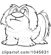 Royalty Free RF Clip Art Illustration Of A Cartoon Black And White Outline Design Of A Shaggy Dog