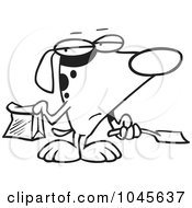 Royalty Free RF Clip Art Illustration Of A Cartoon Black And White Outline Design Of A Self Cleaning Dog Scooping His Poop