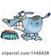 Royalty Free RF Clip Art Illustration Of A Cartoon Dog Growling Over His Food Bowl