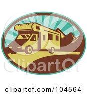 Royalty Free RF Clipart Illustration Of A Driving RV Logo by patrimonio #COLLC104564-0113