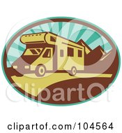 Royalty Free RF Clipart Illustration Of A Driving RV Logo by patrimonio