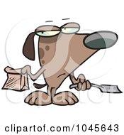 Cartoon Self Cleaning Dog Scooping His Poop