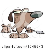 Royalty Free RF Clip Art Illustration Of A Cartoon Self Cleaning Dog Scooping His Poop