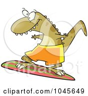 Royalty Free RF Clip Art Illustration Of A Cartoon Surfer Dinosaur by toonaday