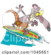 Royalty Free RF Clip Art Illustration Of A Cartoon Surfer Rat by toonaday