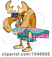 Royalty Free RF Clip Art Illustration Of A Cartoon Surfer Moose Carrying A Board by toonaday