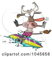 Royalty Free RF Clip Art Illustration Of A Cartoon Surfer Cow by toonaday