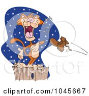 Royalty Free RF Clip Art Illustration Of A Cartoon Boot Flying At A Serenading Cat On A Fence by toonaday