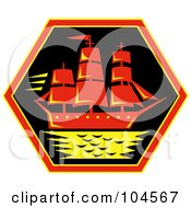 Royalty Free RF Clipart Illustration Of A Clipper Ship Logo