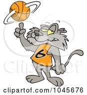 Royalty Free RF Clip Art Illustration Of A Cartoon Big Cat Spinning A Basketball by toonaday