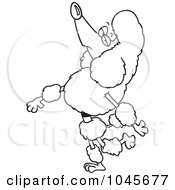 Royalty Free RF Clip Art Illustration Of A Cartoon Black And White Outline Design Of A Snobbish Poodle Walking Upright by toonaday