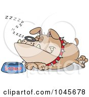 Royalty Free RF Clip Art Illustration Of A Cartoon Sleeping Bulldog By His Food Dish
