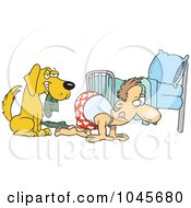 Royalty Free RF Clip Art Illustration Of A Cartoon Dog Holding A Sock While His Master Searches by toonaday