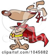 Royalty Free RF Clip Art Illustration Of A Cartoon Super Dog Standing In A Cape by toonaday