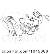 Royalty Free RF Clip Art Illustration Of A Cartoon Black And White Outline Design Of A Dog Falling Off A Sled