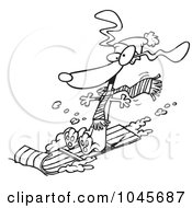 Royalty Free RF Clip Art Illustration Of A Cartoon Black And White Outline Design Of A Wiener Dog Sledding