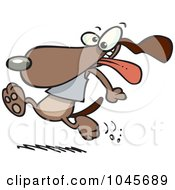 Royalty Free RF Clip Art Illustration Of A Cartoon Dog Running With His Tongue Hanging Out