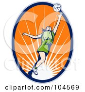 Royalty Free RF Clipart Illustration Of A Female Volleyball Logo by patrimonio