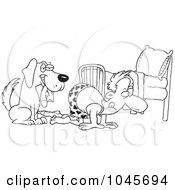 Royalty Free RF Clip Art Illustration Of A Cartoon Black And White Outline Design Of A Dog Holding A Sock While His Master Searches