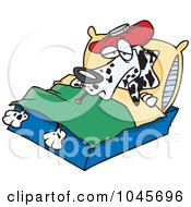 Royalty Free RF Clip Art Illustration Of A Cartoon Sick Dalmatian In Bed by toonaday