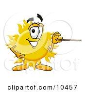 Sun Mascot Cartoon Character Holding A Pointer Stick