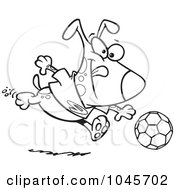 Royalty Free RF Clip Art Illustration Of A Cartoon Black And White Outline Design Of A Dog Playing Soccer