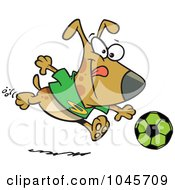 Royalty Free RF Clip Art Illustration Of A Cartoon Dog Playing Soccer