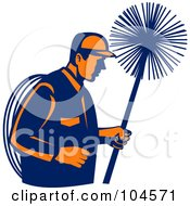 Royalty Free RF Clipart Illustration Of A Chimney Sweep Logo by patrimonio