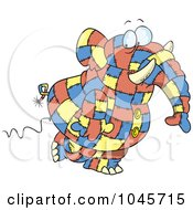 Cartoon Patchwork Elephant