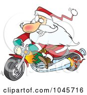 Royalty Free RF Clip Art Illustration Of A Cartoon Biker Santa On A Motorcycle by toonaday