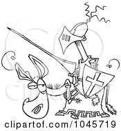 Royalty Free RF Clip Art Illustration Of A Cartoon Black And White Outline Design Of A Broke Jouster On A Donkey