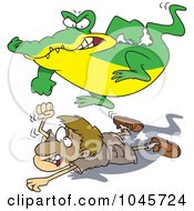 Royalty Free RF Clip Art Illustration Of A Cartoon Crocodile Stomping On A Hunter by toonaday