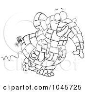 Cartoon Black And White Outline Design Of A Patchwork Elephant