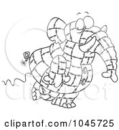 Cartoon Black And White Outline Design Of A Patchwork Elephant
