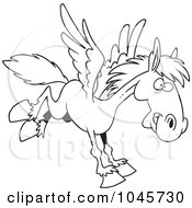Cartoon Black And White Outline Design Of A Winged Horse Flying