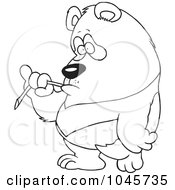 Royalty Free RF Clip Art Illustration Of A Cartoon Black And White Outline Design Of A Bored Panda Eating Bamboo by toonaday