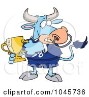 Royalty Free RF Clip Art Illustration Of A Cartoon Sports Bull Holding A Trophy Cup by toonaday