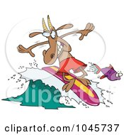 Royalty Free RF Clip Art Illustration Of A Cartoon Surfer Goat by toonaday