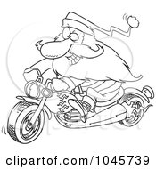 Royalty Free RF Clip Art Illustration Of A Cartoon Black And White Outline Design Of A Biker Santa On A Motorcycle by toonaday