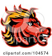 Royalty Free RF Clipart Illustration Of A Mad Horse Head Logo