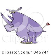 Royalty Free RF Clip Art Illustration Of A Cartoon Peeved Rhino by toonaday
