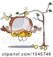 Royalty Free RF Clip Art Illustration Of A Cartoon Fat Partridge Hanging Upside Down In A Pear Tree by toonaday