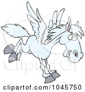 Royalty Free RF Clip Art Illustration Of A Cartoon Winged Horse Flying by toonaday