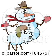 Royalty Free RF Clip Art Illustration Of A Cartoon Snow Dog And Snowman by toonaday