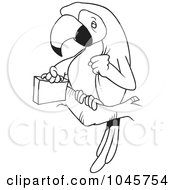 Royalty Free RF Clip Art Illustration Of A Cartoon Black And White Outline Design Of A Parrot Legal With A Briefcase by toonaday