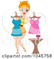 Royalty Free RF Clip Art Illustration Of A Pinup Woman Trying To Figure Out What Dress To Wear For Valentines Day